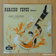 Discos de vinilo: NARCISO YEPES - JUEGOS PROHIBIDOS PARTE 1 / PARTE 2 - SINGLE. Lote 193555407