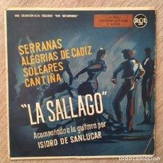 Discos de vinilo: LA SALLAGO - 1958 - GUITARRA ISIDRO DE SANLÚCAR . Lote 193717531