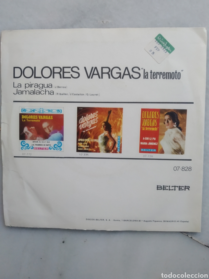 Discos de vinilo: DOLORES VARGAS. LA TERREMOTO. SINGLE VINILO. - Foto 2 - 193734598