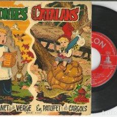 Discos de vinilo: DISCO CONTES CATALANS, L'ESCOLANET DE LA VERGE - EN PATUFET I ELS CARGOLS, 1958. Lote 193758643