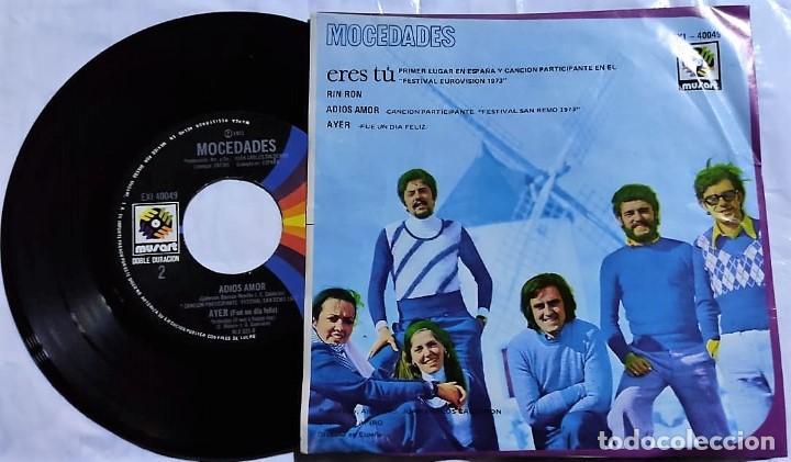 Discos de vinilo: Mocedades - Eres Tú - Rin Ron - Adios Amor - Ayer del año 1973 México (muy raro) - Foto 2 - 193772183