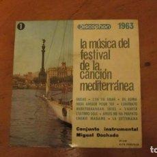 Discos de vinilo: DOS DISCOS CON LA MUSICA DEL FESTIVAL DE LA CANCION MEDITERRANEA DE 1963. Lote 193772417