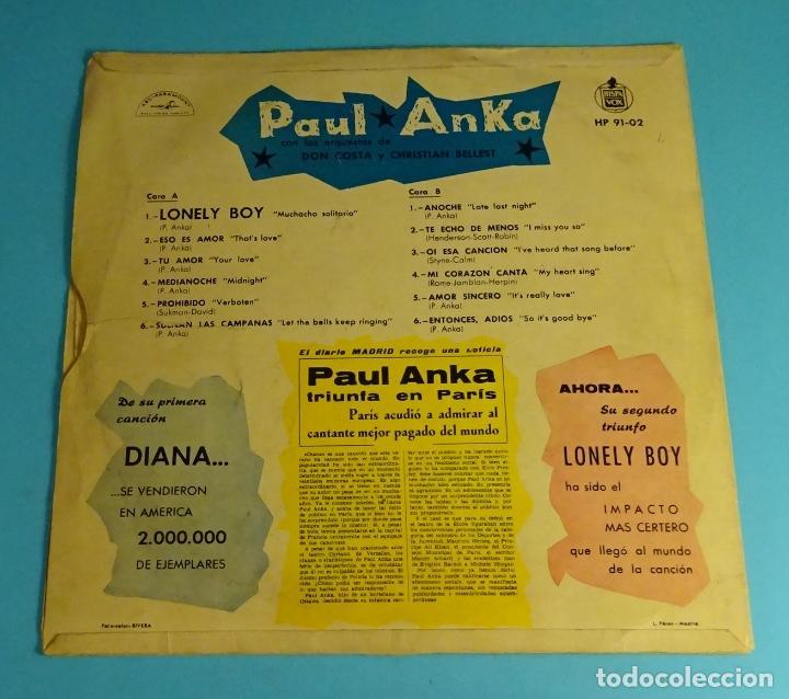 Discos de vinilo: PAUL ANKA. LONELY BOY. HISPAVOX - Foto 2 - 193800143