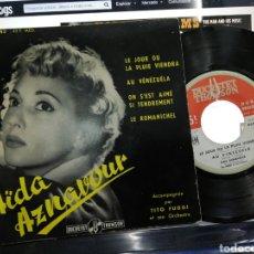Discos de vinilo: AIDA AZNAVOUR EP LE JOUR OU LA PLUIE VENDRÁ + 3 FRANCIA 1958. Lote 193831150