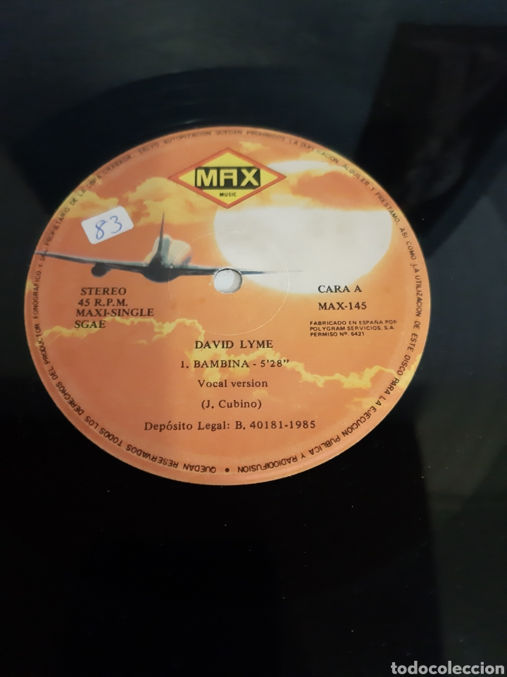Discos de vinilo: RARO. DAVID LYME. BAMBINA MAXISINGLE. SPAIN. MAX MUSIC. - Foto 3 - 193832426