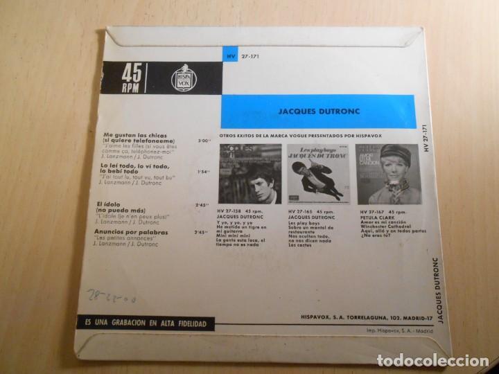 Discos de vinilo: JACQUES DUTRONC, EP, ME GUSTAN LAS CHICAS + 3, AÑO 1967 - Foto 2 - 193842072