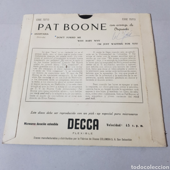Discos de vinilo: PAT BOONE - ANASTASIA - DONT FORBID ME WHY BABY WHY - IM JUST WAITING FOR YOU - Foto 2 - 193976427