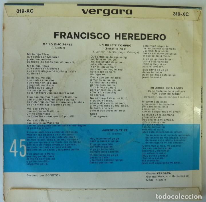 Discos de vinilo: FRANCISCO HEREDERO // TICKET TO RIDE+3 // BEATLES //1965 // EP - Foto 2 - 193986076