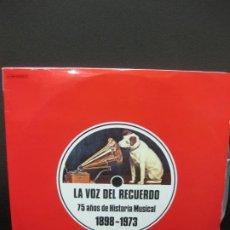 Discos de vinilo: LA VOZ DEL RECUERDO. 75 AÑOS DE HISTORIA MUSICAL 1898-1973. EMI LA VOZ DE SU AMO 1973. 2 LP'S.. Lote 193992185