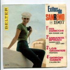 Discos de vinilo: EXITOS DE SAN REMO 1967. VELTER. EP. Lote 193999627