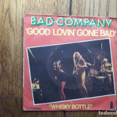 Discos de vinilo: BAD COMPANY - GOOD LOVIN' GONE BAD + WHISKY BOTTLE. Lote 194002546