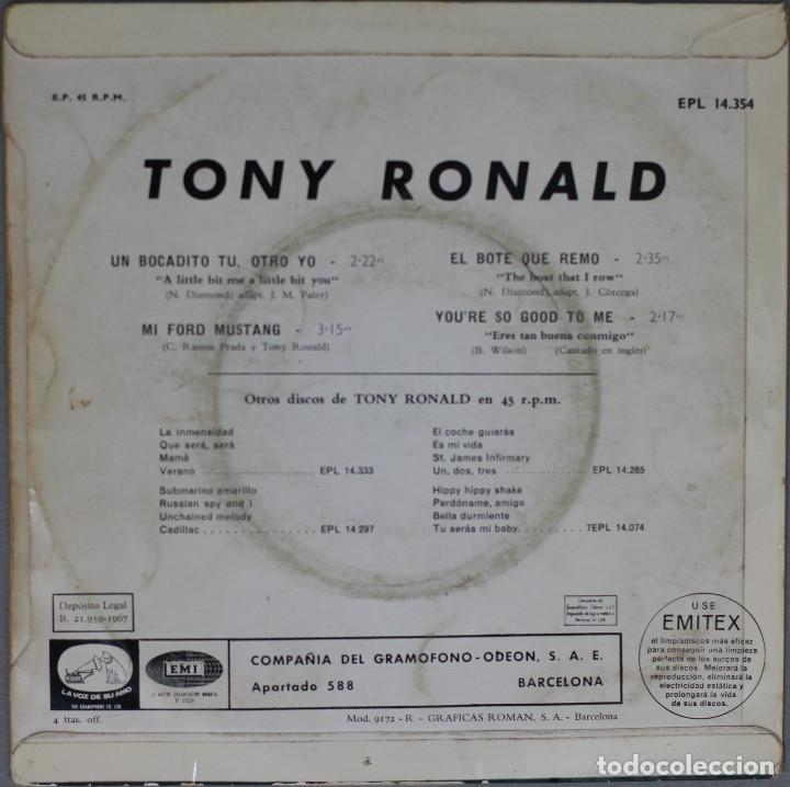 Discos de vinilo: TONY RONALD//UN BOCADITO TU, OTRO YO+3//1967//EP//EMI - Foto 2 - 194029337