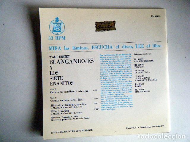 Discos de vinilo: BLANCANIEVES Y LOS 7 ENANITOS WALT DISNEY DISCO LIBRO. - Foto 2 - 194060143