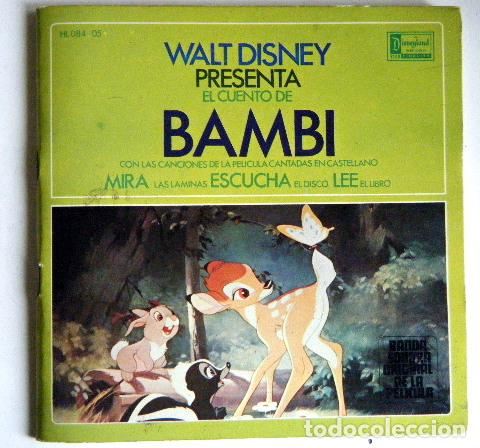 BAMBI WALT DISNEY DISCO LIBRO. (Música - Discos - Singles Vinilo - Música Infantil)