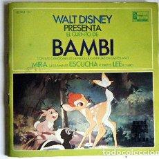 Discos de vinilo: BAMBI WALT DISNEY DISCO LIBRO.. Lote 194060222