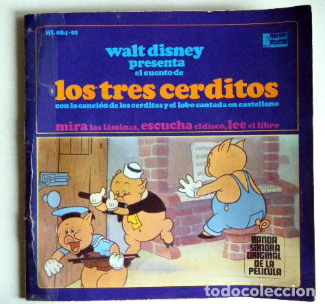 LOS TRES CERDITOS WALT DISNEY DISCO LIBRO. (Música - Discos - Singles Vinilo - Música Infantil)