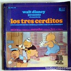 Discos de vinilo: LOS TRES CERDITOS WALT DISNEY DISCO LIBRO.. Lote 194060313