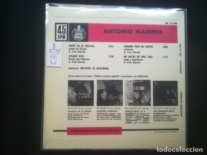 Discos de vinilo: ANTONIO MAIRENA - DUENDES DEL CANTE DE TRIANA - Foto 2 - 194066880