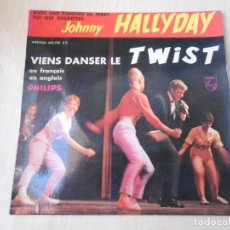 Discos de vinilo: JOHNNY HALLYDAY, EP, VIENS DANSER LE TWIST + 3, AÑO 19??. MADE IN FRANCE. Lote 194111932