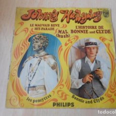 Discos de vinilo: JOHNNY HALLYDAY, EP, L´HISTOIRE DE BONNIE AND CLYDE + 3, AÑO 19??. MADE IN FRANCE. Lote 194112267
