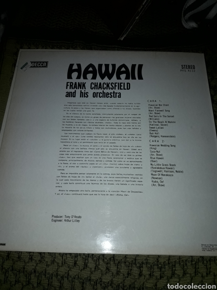 Discos de vinilo: Frank Chacksfield. Hawaii. Edicion Columbia de 1976. - Foto 2 - 194117887