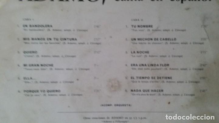 Discos de vinilo: ** ADAMO - CANTA EN ESPAÑOL - LP 1966 - LEER DESCRIPCIÓN - Foto 2 - 194141248