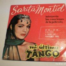 Discos de vinilo: SINGLE SARA MONTIEL. MI ÚLTIMO TANGO. AY BA. VOLVER. A MEDIA LUZ. POUTPURRIT FINAL. HISPAVOX 1970 . Lote 194147900