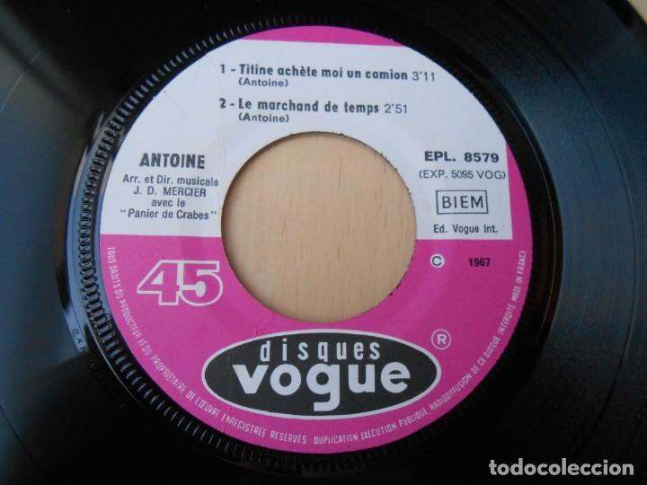 Discos de vinilo: ANTOINE, EP, TITINE ACHETE MOI UN CAMION + 3, AÑO 1967, MADE IN FRANCE - Foto 3 - 194176482