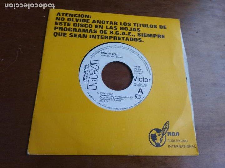 RENATO ZERO SINGLE PROMOCIONAL TRIANGOLO - SESSO O ESSE ESPAÑA 1978-MUY RARO!!! EXCELENTE (Música - Discos - Singles Vinilo - Canción Francesa e Italiana)