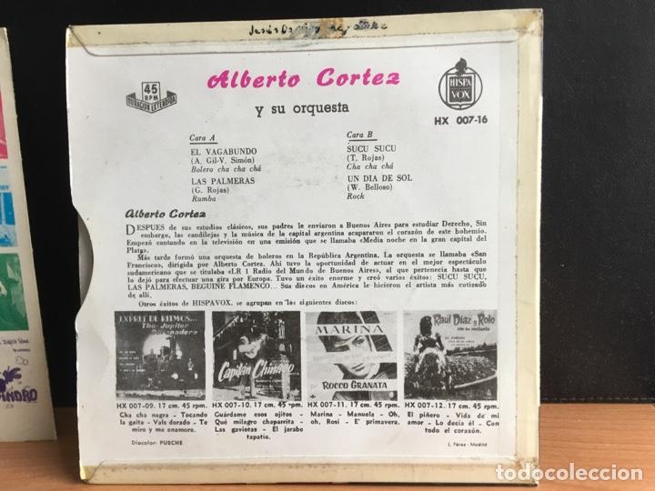 Discos de vinilo: Alberto Cortez Y Su Orquesta - El Vagabundo / Las Palmeras / Sucu Sucu / Un Dia De Sol (D:NM/C:VG+) - Foto 2 - 194188143