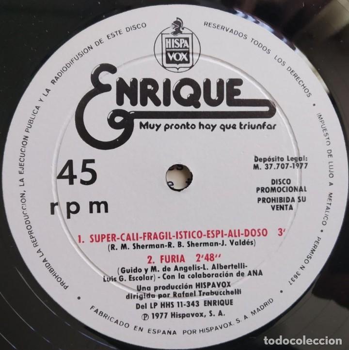 Discos de vinilo: ENRIQUE DEL POZO - MUY PRONTO HAY QUE TRIUNFAR - MAXI-SINGLE PROMO HISPAVOX 1977 - Foto 3 - 194195567
