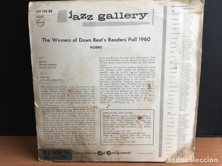 Discos de vinilo: Miles Davis / Jay Jay Johnson - The Winners Of Down Beats Readers Poll 1960 Horns (EP Mono) - Foto 2 - 194209781