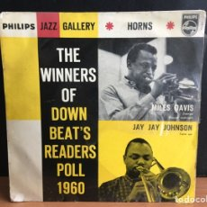 Discos de vinilo: MILES DAVIS / JAY JAY JOHNSON - THE WINNERS OF DOWN BEAT'S READERS POLL 1960 HORNS (EP MONO). Lote 194209781