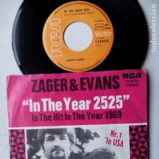 Discos de vinilo: ZAGER & EVANS. IN THE YEAR 2525. SINGLE RCA 74-0174. GERMANY 1969. LITTLE KIDS.. Lote 194214343