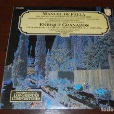 Discos de vinilo: MANUEL DE FALLA - ENRIQUE GRANADOS, NOCHE EL LOS JARDINES DE ESPAÑA. Lote 194223885