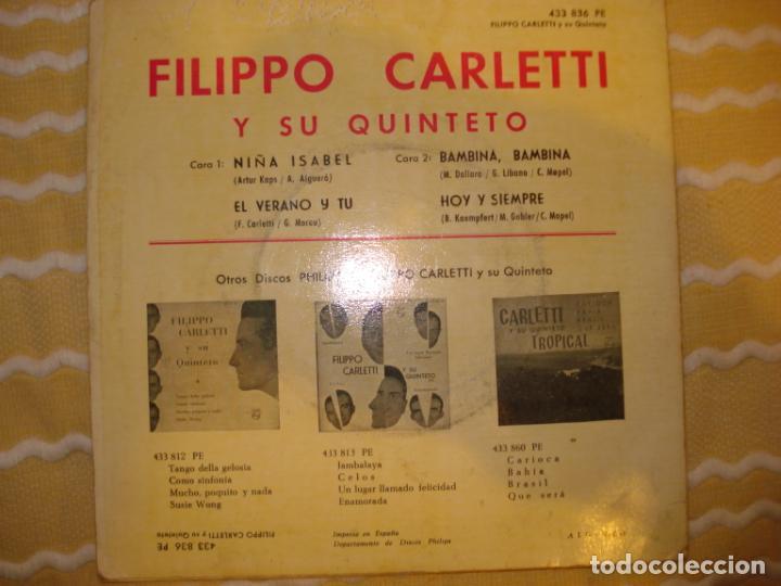 Discos de vinilo: FILIPPO CARLETTI Y SU QUINTETO, NIÑA ISABEL+3 - Foto 2 - 194233927