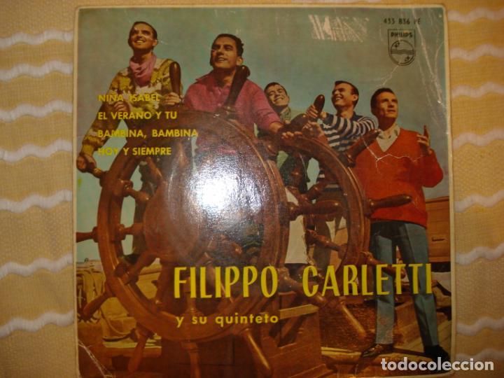FILIPPO CARLETTI Y SU QUINTETO, NIÑA ISABEL+3 (Música - Discos de Vinilo - EPs - Pop - Rock Extranjero de los 50 y 60)