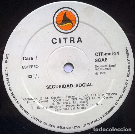Discos de vinilo: Seguridad Social. Solo para locos. Citra, Spain 1985 Mini-LP - Foto 3 - 194242493