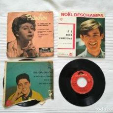 Discos de vinilo: 4 SINGLES DE MÚSICA FRANCESA AÑOS 60. PATACHOU, NOËL DESCHAMPS, SACHA DISTEL, MOUSTAKI. Lote 194249622