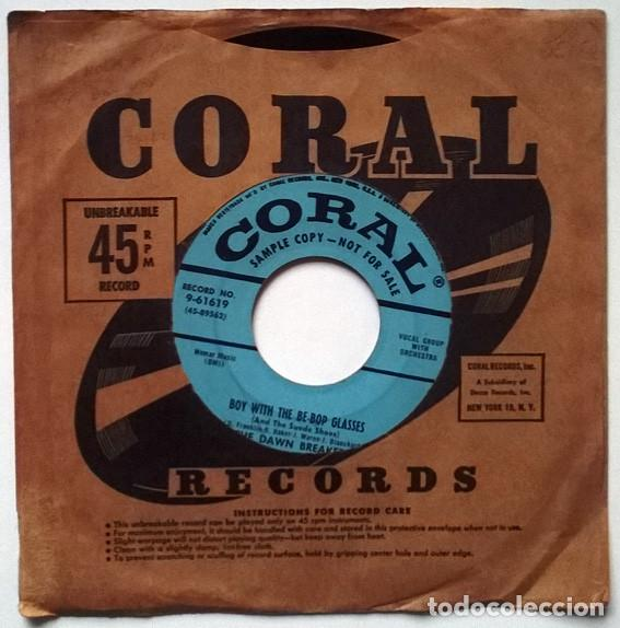 THETHE DAWN BREAKERS. BOY WITH T THE BE-BOP GLASSES/ THE THINGS I LOVE. CORAL, USA 1956 SINGLE PROMO (Música - Discos - Singles Vinilo - Rock & Roll)