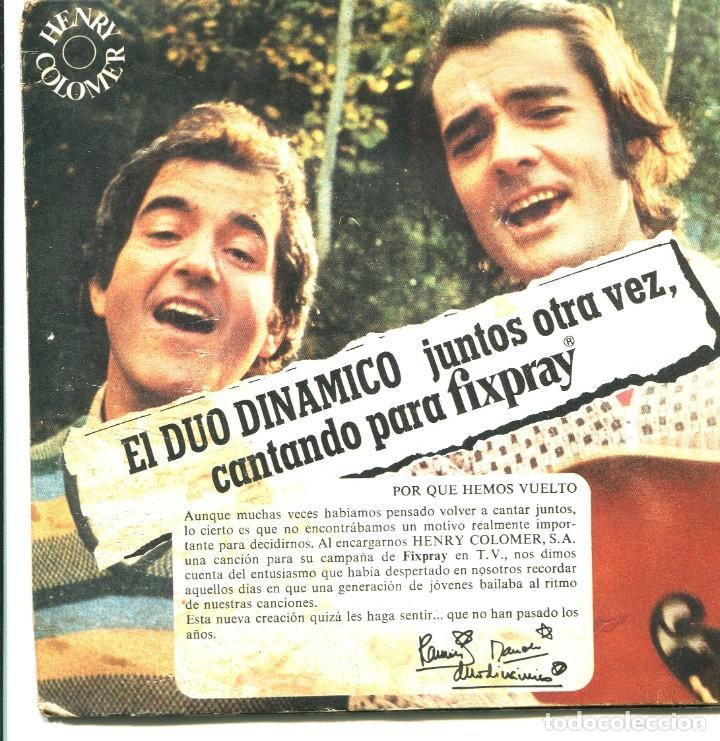 EL DUO DINÁMICO. A TUS CABELLOS, PERDONAME. ETC. EP PROMOCIONAL DE LACA FIXPRAY. 1977. PUBLICIDAD (Música - Discos de Vinilo - EPs - Solistas Españoles de los 50 y 60)