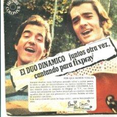 Discos de vinilo: EL DUO DINÁMICO. A TUS CABELLOS, PERDONAME. ETC. EP PROMOCIONAL DE LACA FIXPRAY. 1977. PUBLICIDAD. Lote 194265755
