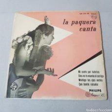 Discos de vinilo: LA PAQUERA CANTA 1958 MI CANTO POR BULERIAS - MANUEL MORENO Y MARAITO CHICO A LA GUITARRA. Lote 194267835