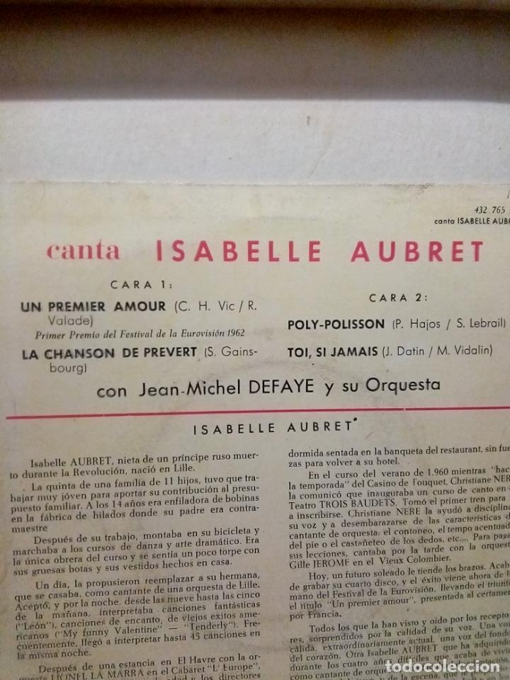 Discos de vinilo: Isabelle aubret..un premier amour -ganadora del festival de Eurovisión 1962 - Foto 3 - 194268228