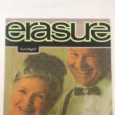 Discos de vinilo: ERASURE-AM I RIGHT?-1991-PROMO-EXCELENTE ESTADO SIN USO. Lote 194274942