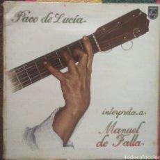 Discos de vinilo: PACO DE LUCÍA–INTERPRETA A MANUEL DE FALLA. Lote 194292240