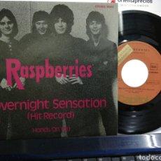 Discos de vinilo: RASPBERRIES SINGLE OVERNIGHT SENSATION ESPAÑA 1974. Lote 194292283