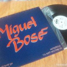 Discos de vinilo: MIGUEL BOSE, MAXI PROMOCIONAL, METROPOLIS, KEEP HOLDING ON, MARCHATE YA , QU SE YO. Lote 194302588