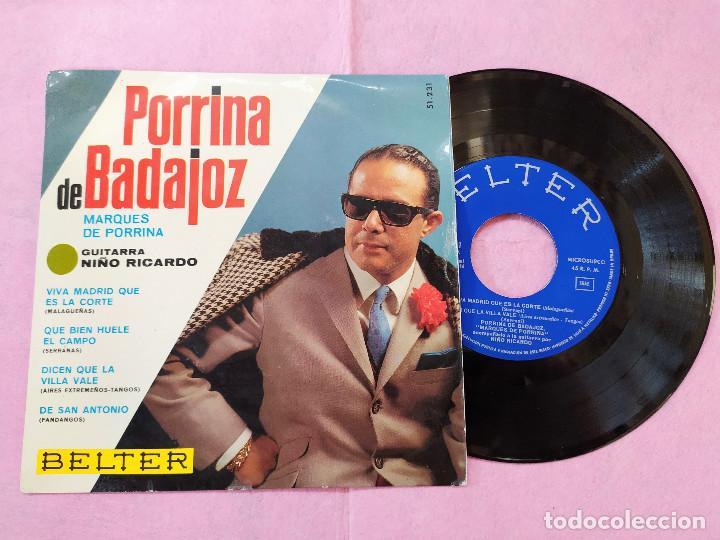SINGLE EP PORRINA DE BADAJOZ – MARQUÉS DE PORRINA- GUITARRA NIÑO RICARDO (EX/EX) V (Música - Discos - Singles Vinilo - Flamenco, Canción española y Cuplé)