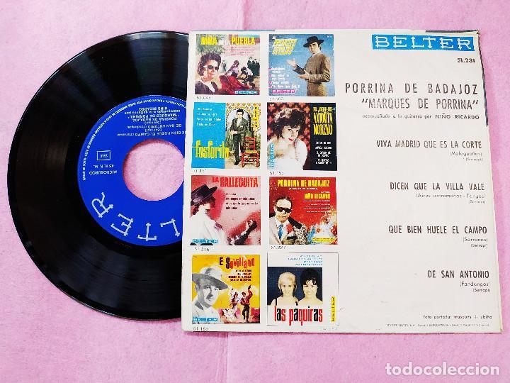 Discos de vinilo: SINGLE EP PORRINA DE BADAJOZ – Marqués De Porrina- Guitarra Niño Ricardo (EX/EX) V - Foto 2 - 194304422